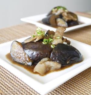 なすびと豚バラ肉の甘味噌炒め煮