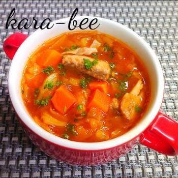 ご飯にかけてもウマッ♪野菜たっぷり!濃厚鯖缶トマトスープ