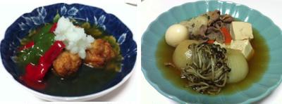 海老団子の揚げだし風、丸ごと玉ねぎの肉豆腐、豆乳ポタージュ 他