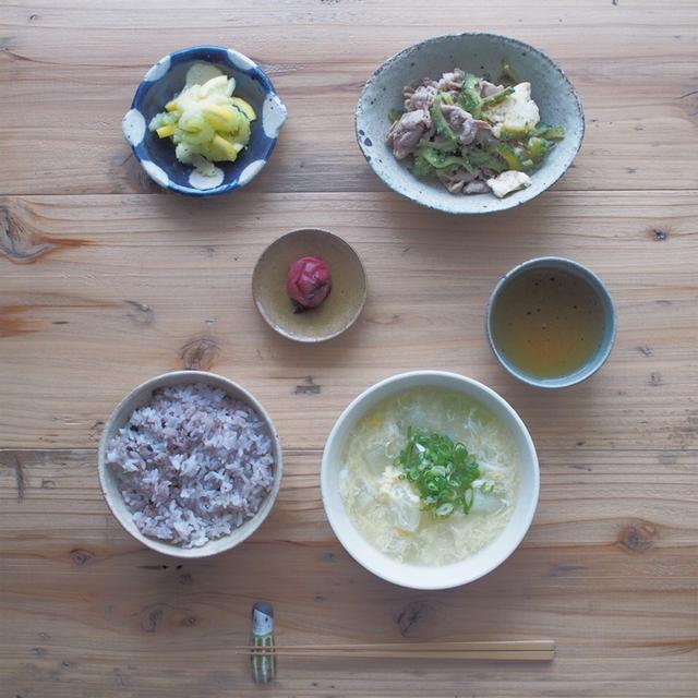梅雨のむくみをふっとばそう!冬瓜とコーンの中華スープと献立