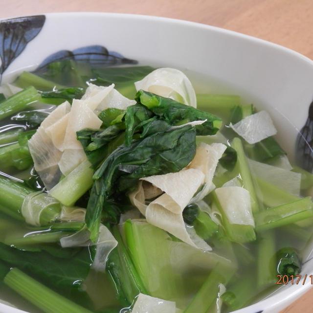 白だしで簡単☆小松菜と湯葉の煮浸し