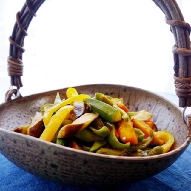 夏の彩り野菜味噌炒めと晩ごはん