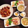 スープを見つけて嬉しそう(笑)~海老餃子と肉団子と蓮根の甘酢餡~