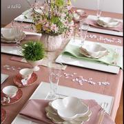 中華料理レッスンのテーブルコーディネート♪ 「中華でお花見」テーブル