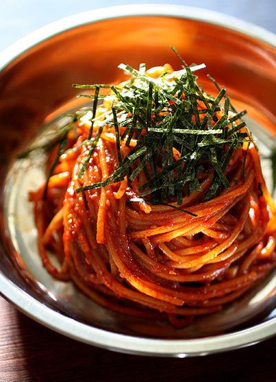 ビビン麺風スパゲッティ