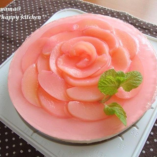 母の日に*お花の桃レアチーズケーキ
