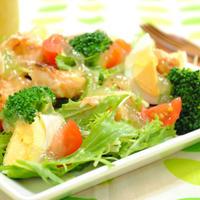 エビの醤油麹ソテーと 水菜の きらきらジュレサラダ ☆