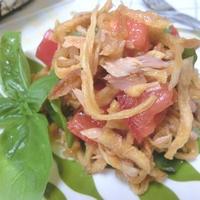 トマトで戻すからうま味がすごい☆ 切り干し大根とツナトマトサラダ