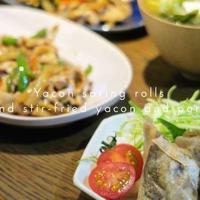 【レシピ2つ】ヤーコンの春巻きと青椒肉絲。