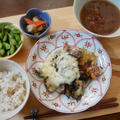 茄子とチーズのフライパン重ね焼き&小豆ともち麦のスープ