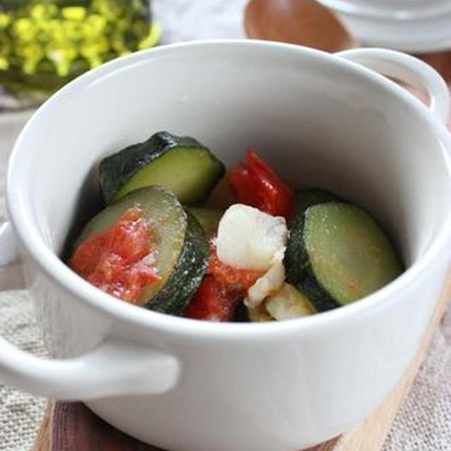 ズッキーニとトマトのガーリックオイル煮