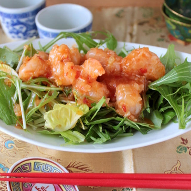 海老チリドレッシングでお野菜いっぱいサラダ、近頃のお弁当・・・