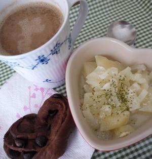 お手軽♪朝カフェごはん。ポテトスープ&ショコラソイラテ♪