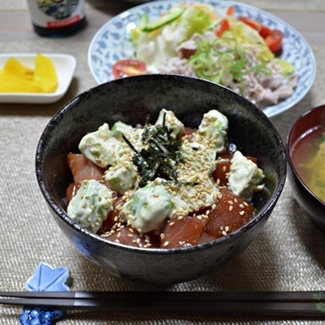 煮切った漬けだれと酢飯で作る マグロアボカド丼