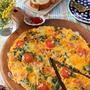 朝食にもピッタリ♪春菊とベーコンのふわふわオープンオムレツ♪