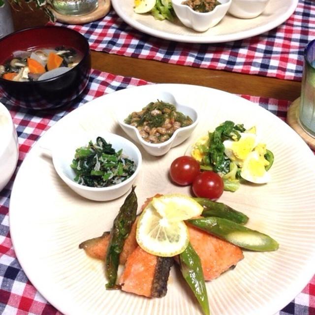鮭とアスパラのガリバタレモン♪de和なワンプレート晩ごはん
