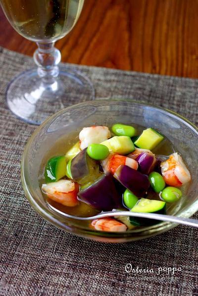 夏野菜と海老の和風ゼリー寄せ♪