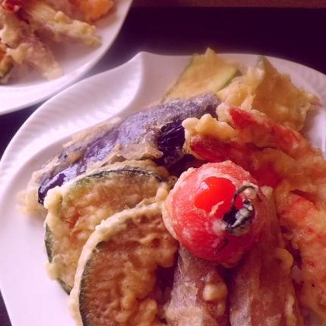 野菜と海老の夏天丼♪