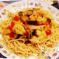 カリフラワー入りラタトゥイユスパゲッティ♪ Ratatouille with Pasta