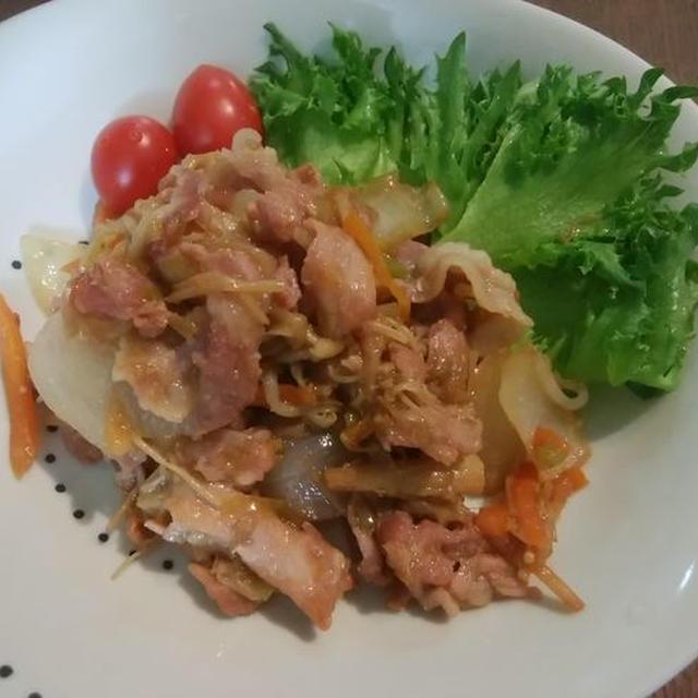 豚こま切れ肉のしょうが焼き【野菜たっぷり🍄】