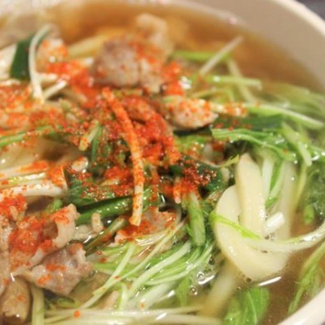 【レシピ】「豚肉と水菜入りうどん」