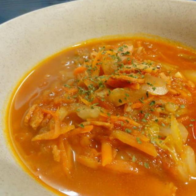 しょうがでポカポカ★白菜のトマトスープ