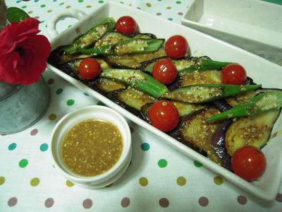夏野菜のグリル・マスタードソースのせ
