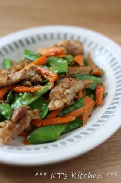 鶏肉と絹さやのハニーマスタード炒め