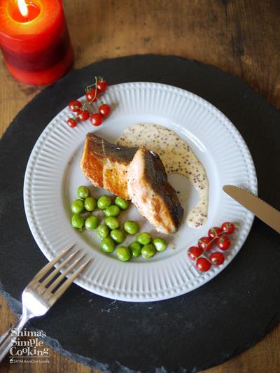 旬食材|グリンピース|簡単なさやの剥き方|シワにならない茹で方|ハニーマスタードソース|【鮭とグリンピースのガーリックソテー ハニーマスタードソース】