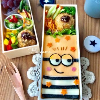《キャラ弁》ペタッとミニオン♡作り方♡ルルロロのお弁当