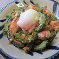 ゴーヤーと海老の豆板醤炒め温泉卵のせ