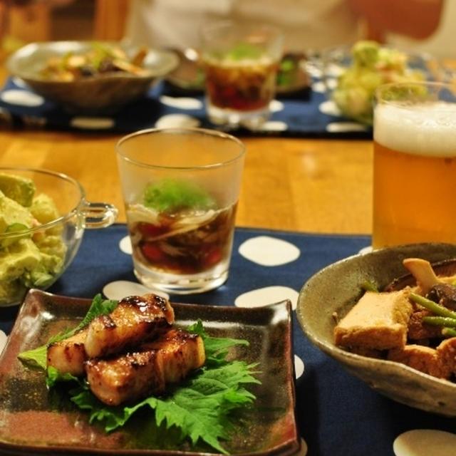 美豚バラ肉の塩麹漬け焼きの晩ごはん