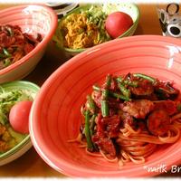 厚切りベーコンと茄子のトマトソースパスタ~マルチクイックMR 5550 MFP
