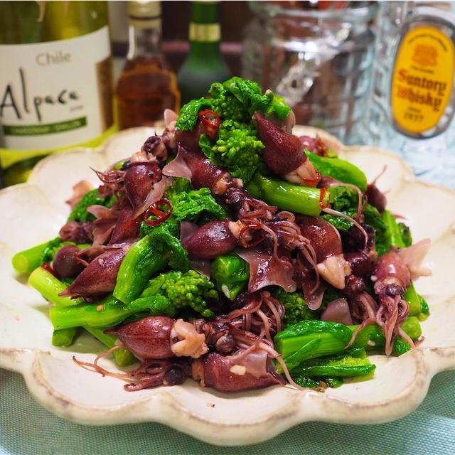 【レシピ】ホタルイカと菜の花のにんにく炒め