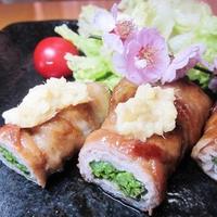 菜の花の豚バラ巻き照り焼き~v(^0^)/