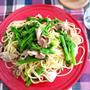 菜の花と豚肉のシンプルパスタレシピ