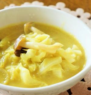ジンジャーパウダーで温かカレー味のスープ