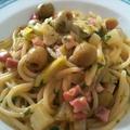 オリーブとパンチェッタのスパゲッティ