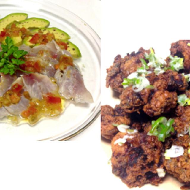 鯵のマリネ、鶏の塩麹唐揚げネギぽん酢、カリカリしらすサラダ