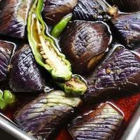 茄子と万願寺唐辛子の煮びたし イカと明太子のパスタ