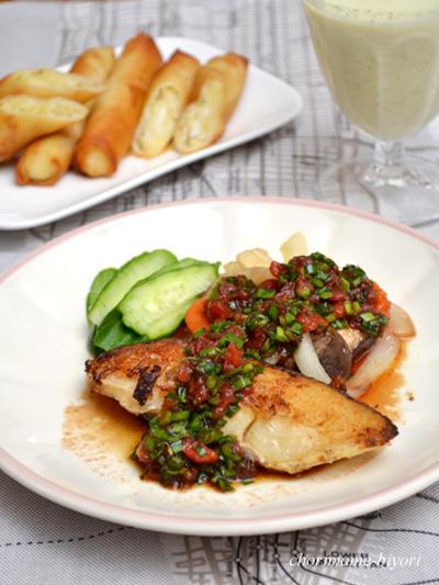 ニラトマトだれ・白身魚のムニエル。いんげんの冷製ポタージュ。の晩ご飯。
