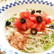 春雨とトマトと蒸し鶏の冷製パスタ風☆低カロ素麺