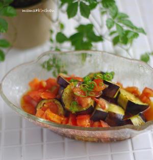 麺つゆでカンタン!茄子とフレッシュトマトの和風マリネ*クマさんのバースデー。