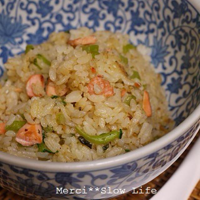 カルシウムタップリ!鮭&干し海老と大根菜炒飯