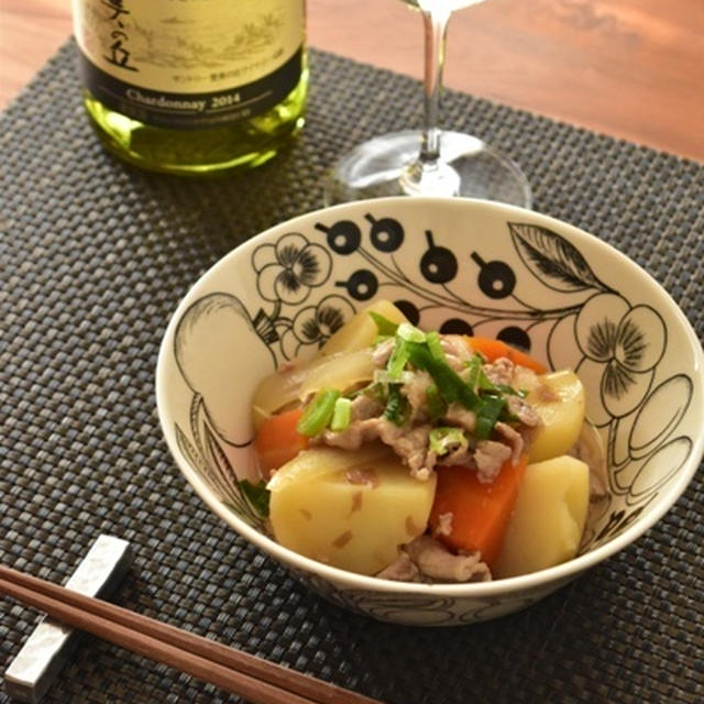 和食とワイン「梅肉じゃが」。