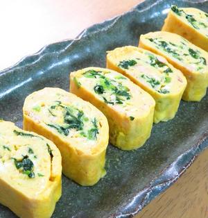 簡単アレンジ卵☆小松菜とツナの卵巻き