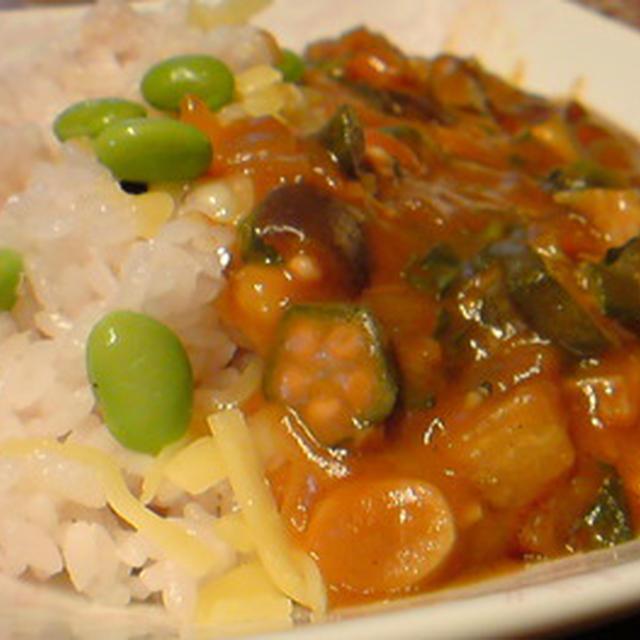 ねばねば夏野菜カレーライス。