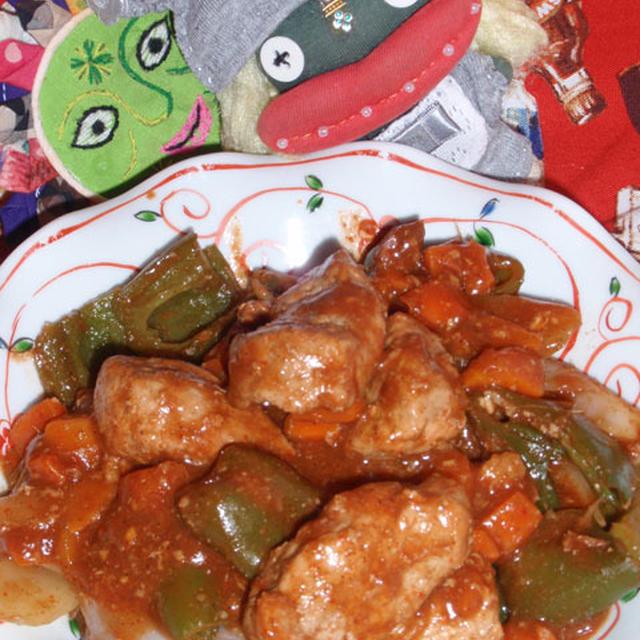 カレー酢豚&コンニャクのオイマヨサラダ(お家カフェ)