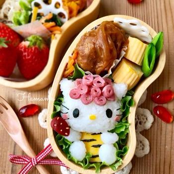《キャラ弁》ハムでくるくるヘアーのキティちゃん節分弁当♡作り方♡