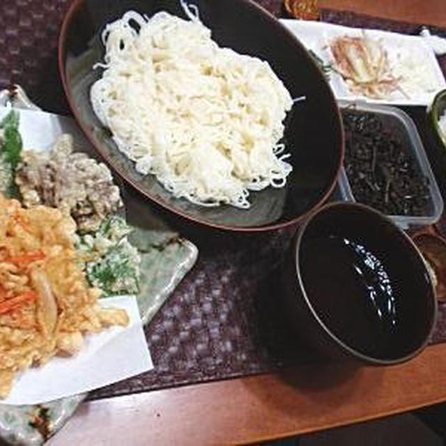 そうめん御膳-野菜の天ぷら&かき揚げ・茄子の生姜醤油煮-(レシピ付)